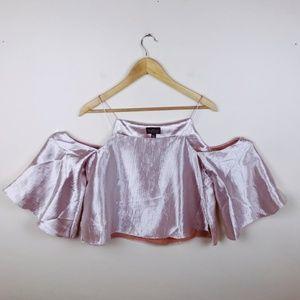 Top shop satin size 6 pink cold shoulder top